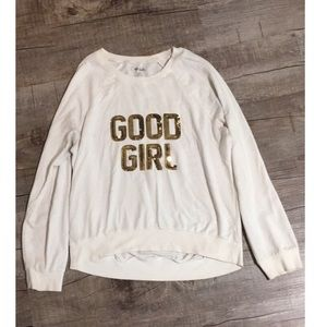 White sequined pullover sweater